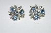 "MBA #E50-217   ""Vintage Silvertone Blue Crystal Rhinestone Earrings"""