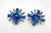 "MBA #E50-364   ""Sarah Coventry  Silvertone Blue Stone Earrings"""