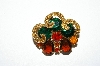 "**MBA #E50-233   ""Vintage Goldtone Glass & Crystal Rhinestone Mulit Colored Pin"""