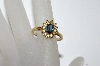 "**MBA #E50-460   ""Vintage Gold Plated Blue & Clear Crystal Ring"""