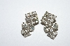 "MBA #E50-268   ""Vintage Silvertone Clear Crystal Rhinestone Earrings"""
