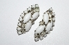 "MBA #E50-279   ""Vintage Silvertone White Milk Glass & Clear Crystal Rhinestone Earrings"""