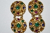 "+MBA #E50-250   ""Vintage Gold Tone Multi Colored Acrylic Rhinestone Earrings"""