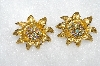 "MBA #E50-323   ""Vintage Gold Plated Fancy AB Crystal Rhinestone Earrings"""