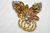 "MBA #E52-054   ""Juliana  Goldtone Glass Stone & AB Crystal Rhinestone Fancy Brooch"""