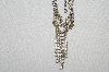 "**MBA  #E52-089  ""Vintage Silvertone Fancy Clear Crystal Rhinestone Necklace"""