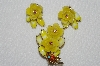 "MBA #E52-084   ""Beaujewels Goldtone Yellow Lucite Flower & Glass Stone Pin & Earrings Set"""