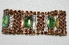 "MBA #E52-073   ""Vintage Brown Crystal Rhinestone & Green Glass Stone Bracelet"""