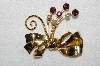 "MBA #E52-184   ""Coro Gold Tone Purple Rhinestone & Faux Pearl Fancy Bow Pin"""