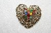 "**MBA #E52-108   ""Vintage Gold Plated Multi Colored Rhinestone & Faux Pearl Fancy Heart Pin"""