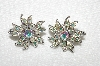 "MBA #E52-121   ""Sarah Coventry Silvertone AB Crystal Rhinestone Earrings"""