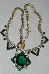 "MBA #E52-147  ""Lilien Green & Clear Crystal Rhinestone Necklace"""