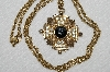 "MBA #E52-145   ""Vintage Gold Plated Fancy Clear Crystal & Black Glass Stone Cross Pendant"""