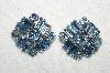 "MBA #E52-111   ""Vintage Silvertone Blue Crystal Rhinestone Earrings"""