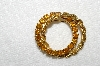 "**MBA #E52-132   ""Vintage Gold Plated Citrine Colored Rhinestone Double Circle Pin"""