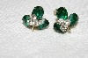 "MBA #E52-178   ""Vintage Gold Tone Green & Clear Crystal Rhinestone Screw Back Earrings"""