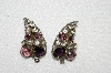"+MBA #E52-094   ""Vintage Sterling Purple & Clear Glass Grape Cluster Earrings"""