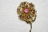 "**MBA #E52-128   ""Vintage Gold Plated Pink Crystal Rhinestone Flower Pin"""