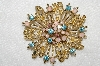"**MBA #E52-159   ""Vintage Gold Plated Enameled Rhinestone Fancy Brooch"""