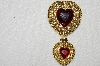 "**MBA #E52-135   ""Vintage Gold Plated Acrylic Stone Double Heart Pin"""