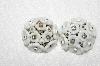"MBA #E52-025   ""Vintage White Milk Glass Flowers & Clear Rhinestone Clip On Earrings"""