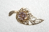 "**MBA #E52-170   ""Vintage Gold Tone Delicate Lavender Crystal Rhinestone Leaf Pin"""
