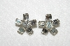 **MBA #E52-016   Vintage Set Of 2 Matching Clear Crystal Small Rhinestone Pins""