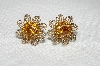 "MBA #E52-187   ""Vintage Gold Tone Citrine Colored Rhinestone Filigree Earrings"""