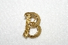 "MBA #E52-253   ""Trifari Gold Plated ""B"" Pin"""