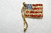 "**MBA #E52-241   ""Vintage Gold Plated Red, White & Blue Crystal Rhinestone Flag Pin"""