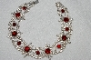 "MBA #E52-035   ""Vintage Silvertone Red & Clear Crystal Rhinestone Fancy Necklace"""