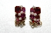 "MBA #E52-006   ""Made In Austria Red & Pink Crystal Rhinestone Earrings"""