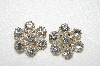 "MBA #E52-012   ""Made In Austria Clear Crystal Rhinestone Clip On Earrings"""