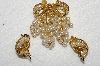 "MBA #E52-116   ""Vintage Gold Plated Faux Pearl Grape Cluster Pin & Matching Earrings"""