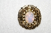 "MBA #E52-227   ""Coro Gold Tone Opal Glass & Clear Crystal Rhinestone Pin"""