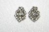 "MBA #E52-021   ""Vintage Silvertone Clear Crystal Rhinestone Clip On Earrings"""