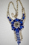 "MBA #E53-008  ""Lilien Beautful Blue & Clear Crystal Fancy Rhinestone Necklace & Matching Earrings Set"""