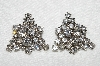 "MBA #E53-053   ""Vintage Silvertone Very Fancy Clear Crystal Rhinestone Earrings"""