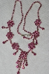 "**MBA#E53-031   ""Older Silvertone Pink Austrian Crystal Fancy Necklace & Earrings Set"""