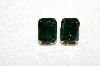 "+MBA #E53-158   ""Vintage Goldtone Green Acrylic Stone Clip On Earrings"""