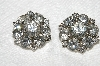 "MBA #E53-134   ""Vintage Silvertone Fancy Round Clear Crystal Rhinestone Earrings"""