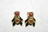 "MBA #E53-184   ""Vintage Gold Tone AB Crystal Clip On Earrings"""