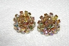 "MBA #E53-141  ""Vogue Gold Tone Fancy AB Crystal Bead Clip On Earrings"""