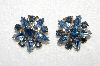 "MBA #E53-155   ""Coro Gold Tone Fancy Blue Glass & Rhinestone Clip On Earrings"""
