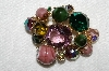 "MBA #E53-106   ""Juliana Multi Colored Glass Stone & Fancy Glass Bead Brooch"""