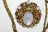 "MBA #E53-097    ""Made In West Germany Opal Glass, Pink Crystal Rhinestone & Faux Pearl Necklace"""