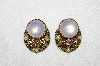 "MBA #E53-180   ""Made In West Germany Opal Glass, Pink Crystal Rhinestones & Faux Pearl Clip On Earrings"""