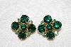 "MBA #E53-172   ""Vintage Goldtone Green Rhinestone Clip On Earrings"""