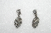 "MBA #E53-202   ""Vintage Silvertone Clear Crystal Rhiestone Screw Back Earrings"""