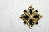 "**MBA #E53-230    ""Vintage Goldplated Black ,& Clear Rhinestone & Faux Pearl Pin"""